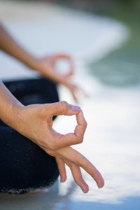 Detail of hands while meditation