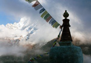 Buddhist Stupa With Prayer Flags And Thamserku Peak - Trek To Ev