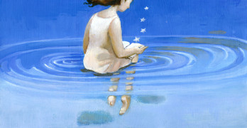 A girl reads floating in the sky
