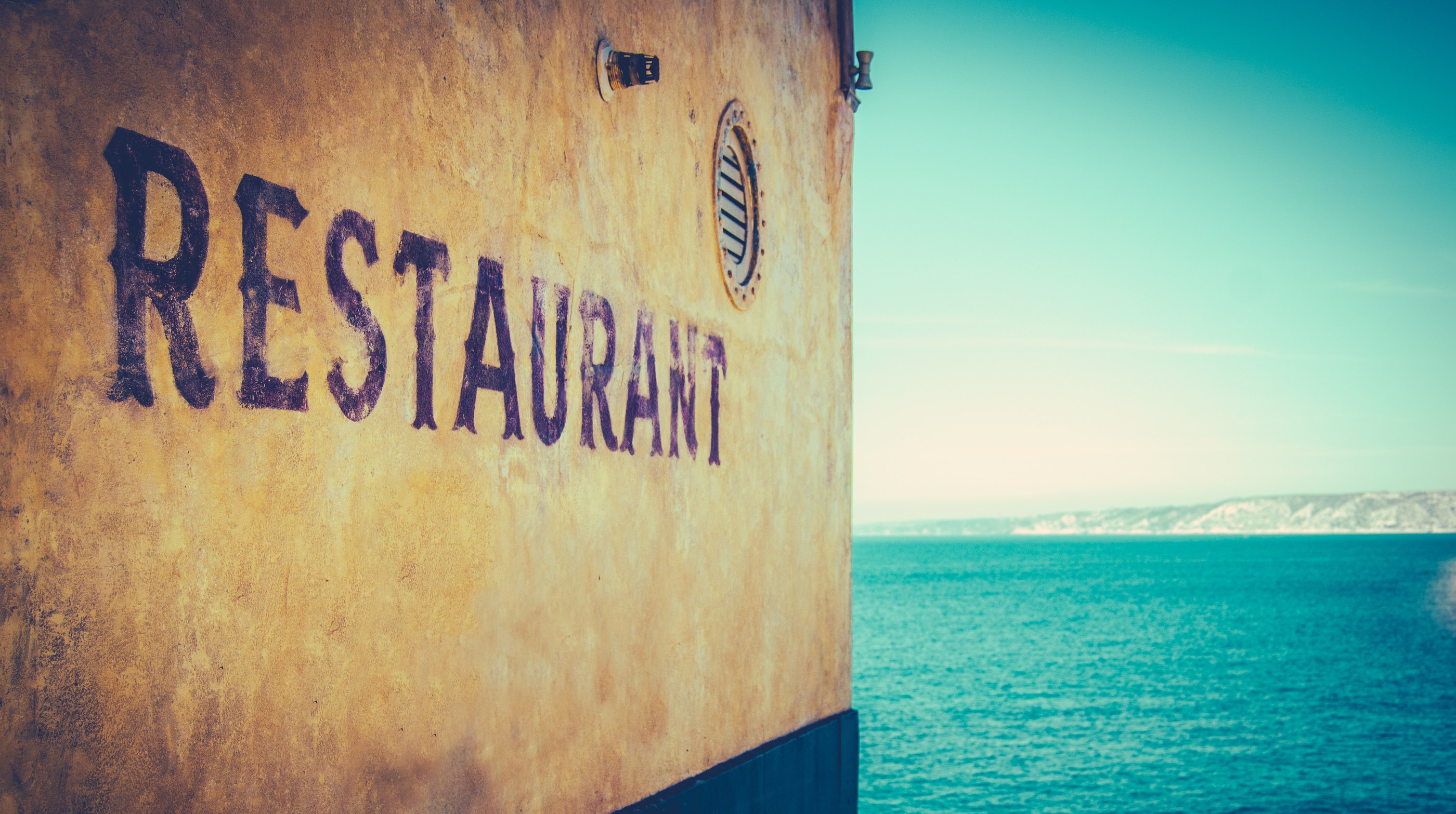Retro Photo Of Rustic Restaurant By The Sea In Marseille South Of France