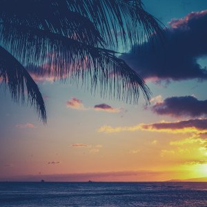 Retro Effect Tropical Sunset Over The Ocean In Hawaii