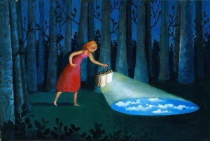 Girl in the woods at night illuminates the road with a book