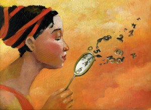 a woman's face in profile blowing away the numbers from a clock as if it were a delicate flower